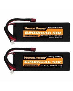 Batería de litio recargable Radio Control 7.4V 6200mah 50C (2 uds) (Reacondicionado A+) 0