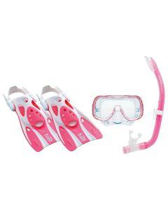 Gafas de Buceo con Tubo y Aletas Tusa Sport Mini Kleio Silicona Rosa (Talla s) 0
