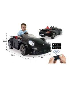 Coche Eléctrico para Niños Porsche 911 Turbo S Injusa USB Negro 0