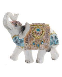 Escultura Dekodonia Elefante Blanco/Azul (19 x 10 x 18 cm) 0