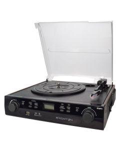 Tocadiscos + Cassette Grabador BRIGMTON BTC-406REC USB SD/MMC Negro