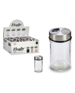 Salero con Tapa (100 ml) Transparente Vidrio Acero Plástico (1 pcs) 0