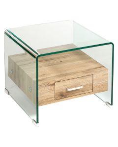 Mesa Auxiliar vidrio curvado (50 x 50 x 42 cm) 0