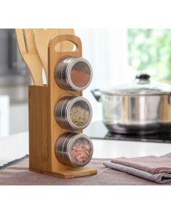 Set de Especieros Magnéticos con Utensilios de Bambú Bamsa InnovaGoods 7 Piezas 0