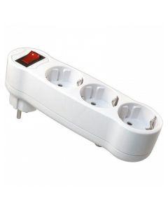 Regleta 3 Enchufes Schuko con Interruptor NIMO MEL-050 16A 3500W 250V Blanco 0