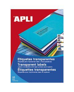 Etiquetas apli transparentes laser/copy a4 20 hojas (01225) 0