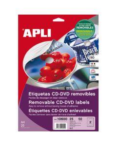 Etiquetas apli multimedia cd/dvd 114 dtro. adhesivo removible (02001) 0