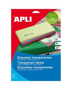 Etiquetas apli transparentes inkjet a4 10 hojas (10053) 0