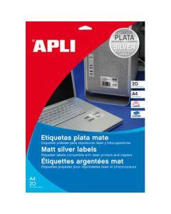Etiquetas apli poliester plata 210x297 mm. 20 uds. (10071) 0