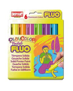 Tempera playcolor solida playcolor 6 barritas colores fluorescentes (10421) 0