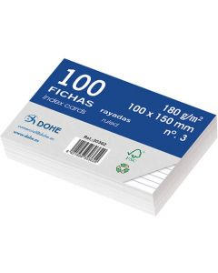 Fichas dohe cartulina rayado horizontal 100x150 mm. (30362) 0