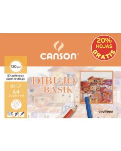 Mini-pk (sobre) canson promocion dibujo basik 130 gr. 10 hojas a4 liso 20% hojas gratis (c400110486) 0