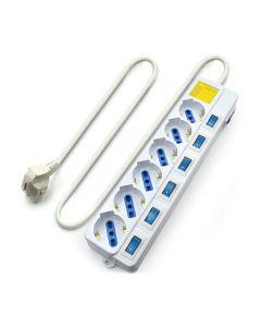 Regleta Enchufes 6 Tomas con Interruptor Ewent EW3932 1,5 m 2500W Blanco