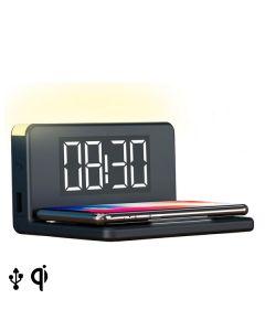 Reloj Despertador con Cargador Inalámbrico KSIX Qi Negro 0
