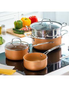 Batería de Cocina con Vaporera Copper-Effect InnovaGoods (6 Piezas) 0